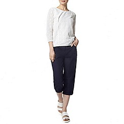 Dorothy Perkins - Navy fly front poplin crop trousers