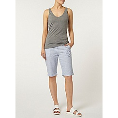 Dorothy Perkins - Blue stripe linen knee short