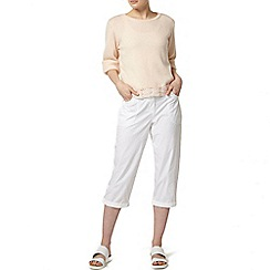 Dorothy Perkins - White fly front poplin crop trousers