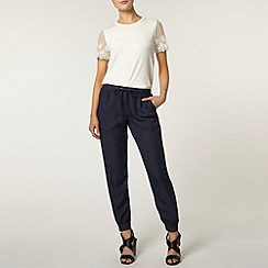Dorothy Perkins - Navy fake tencel jogger