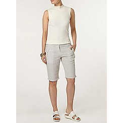 Dorothy Perkins - Sage stripe linen knee shorts