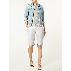 Dorothy Perkins - Grey stripe linen knee shorts