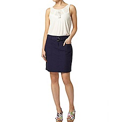 Dorothy Perkins - Navy poplin d ring skirt