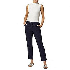 Dorothy Perkins - Navy linen jogger with waist tie and tapered hems