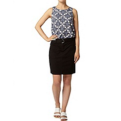 Dorothy Perkins - Black poplin d-ring skirt