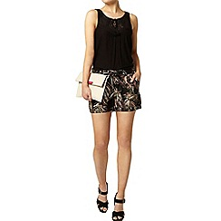 Dorothy Perkins - Black tropical linen shorts