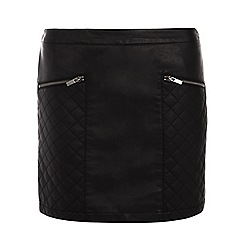 Dorothy Perkins - Black quilted pu mini skirt