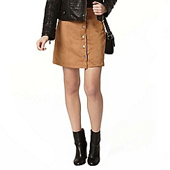 Dorothy Perkins - Tan suedette button mini skirt