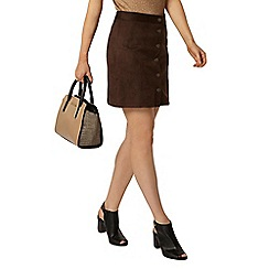 Dorothy Perkins - Chocolate suedette button mini skirt