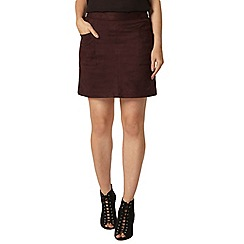 Dorothy Perkins - Raisin suedette pocket mini skirt