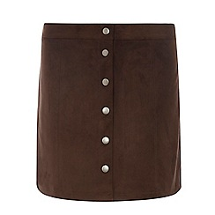 Dorothy Perkins - Tall chocolate button mini skirt