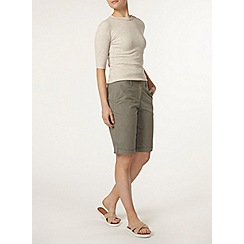 Dorothy Perkins - Khaki cotton poplin knee short