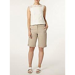 Dorothy Perkins - Stone cotton poplin knee shorts