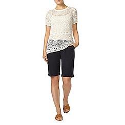Dorothy Perkins - Navy sateen cotton knee shorts