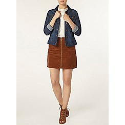 Dorothy Perkins - Tan cord zip mini skirt