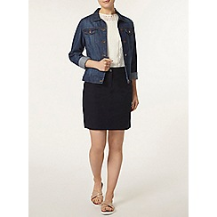 Dorothy Perkins - Navy cotton poplin skirt
