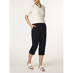 Dorothy Perkins - Navy cotton poplin crop trousers