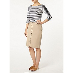Dorothy Perkins - Stone button front skirt