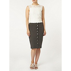 Dorothy Perkins - Tall khaki button front skirt