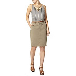 Dorothy Perkins - Belted khaki chino skirt