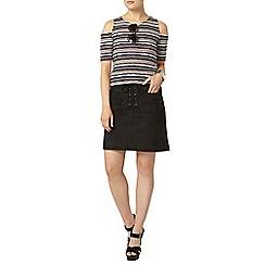 Dorothy Perkins - Black tie suedette skirt