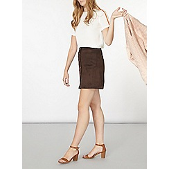 Dorothy Perkins - Chocolate button through skirt