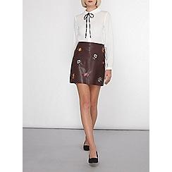 Dorothy Perkins - Burgundy embroidered pu skirt