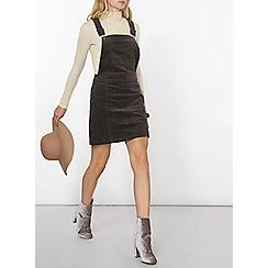 Dorothy Perkins - Charcoal cord dungaree pinny dress
