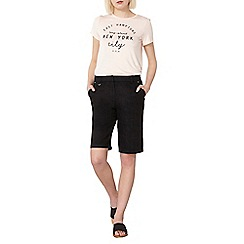 Dorothy Perkins - Black linen knee shorts