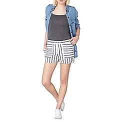 Dorothy Perkins - Cream and navy stripe linen shorts