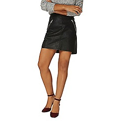 Dorothy Perkins - Black high shine zip polyurethane mini skirt