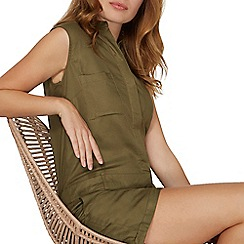 Dorothy Perkins - Khaki shirt playsuit