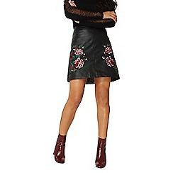 Dorothy Perkins - Black pu floral embroidered skirt