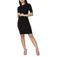 Dorothy Perkins - Petite black split neck knitted dress