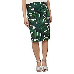 Dorothy Perkins - Petite green palm pencil skirt