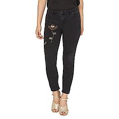 Dorothy Perkins - Petite black floral beaded 'darcy' jeans