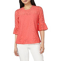 Dorothy Perkins - Petite coral lace flute sleeves top