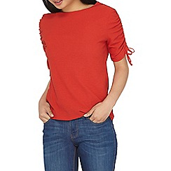 Dorothy Perkins - Petite red crepe ruched sleeves top