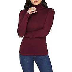 Dorothy Perkins - Petite red port roll neck top