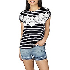 Dorothy Perkins - Petite navy and white stripe lace t-shirt