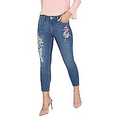 Dorothy Perkins - Petite mid wash oriental embroidered 'darcy' jeans