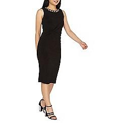 Dorothy Perkins - Petite black slinky embellished neck pencil dress