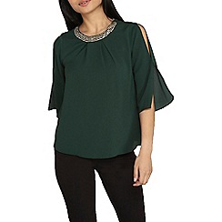 Dorothy Perkins - Petite green embellished top