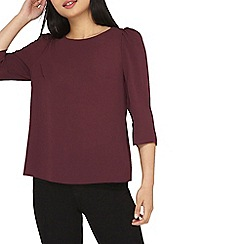 Dorothy Perkins - Petite wine puff sleeves top
