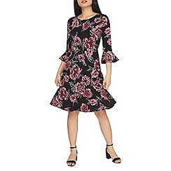 Dorothy Perkins - Petite black floral flute sleeves jersey skater dress