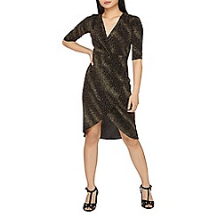 Dorothy Perkins - Petite gold sparkle wrap dress