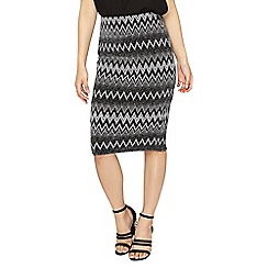 Dorothy Perkins - Petite silver zig zag pencil skirt