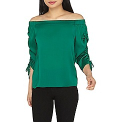 Dorothy Perkins - Petite green ruched bardot top