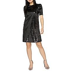 Dorothy Perkins - Petite black silver polka dot puff sleeve shift dress