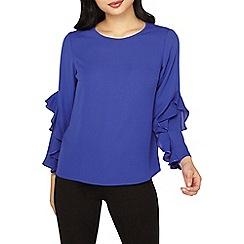 Dorothy Perkins - Petite cobalt ruffle sleeves blouse